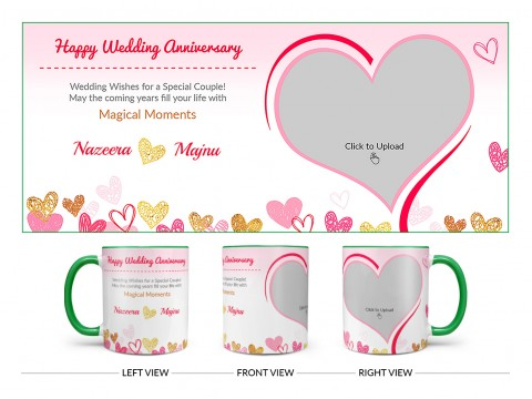 Happy Wedding Anniversary Design On Dual Tone Green Mug