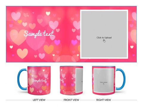 Heart Symbols With Dark Pink Background Design On Dual Tone Sky Blue Mug