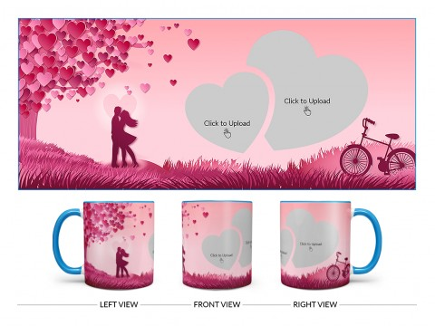 Young Couple In Love World Design On Dual Tone Sky Blue Mug