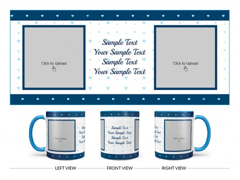 Dark Blue Love Symbols borders With Love Symbol Background Design On Dual Tone Sky Blue Mug