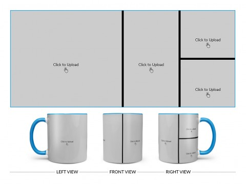 4 Pic Upload Upload Design For Multiple Occasions Design On Dual Tone Sky Blue Mug
