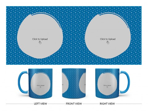 Dark Blue Background With Stars Pattern Design On Dual Tone Sky Blue Mug