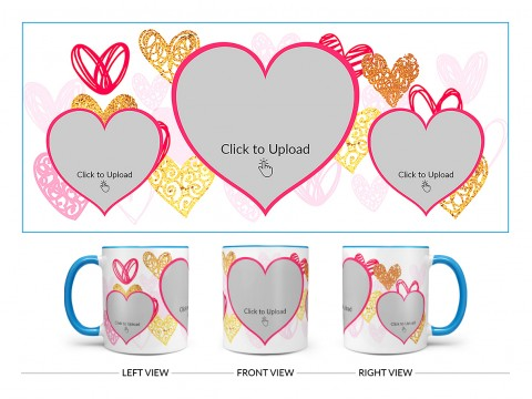 3 Heart Symbols Pic Upload With Golden Love Symbols Background Design On Dual Tone Sky Blue Mug