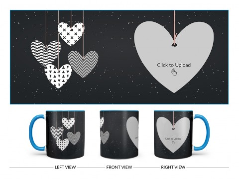 Heart Symbols Hanging In The Sky With Stars Background Design On Dual Tone Sky Blue Mug