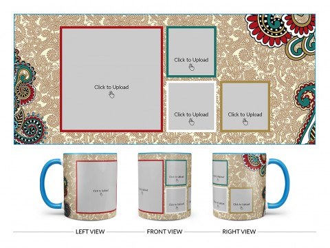 Traditional Background With 4 Pic Upload Design On Dual Tone Sky Blue Mug