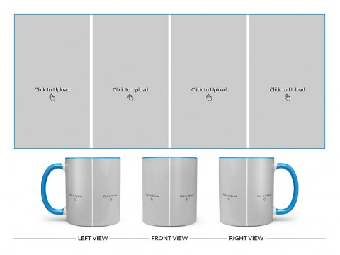 4 Vertical Pic Upload Design For Any Occasions & Event Design On Dual Tone Sky Blue Mug