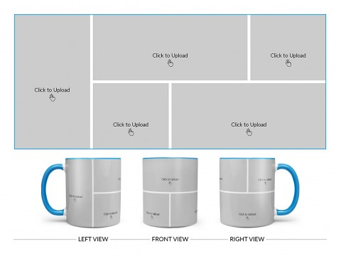 5 Pic Upload Design For Any Occasions & Event Design On Dual Tone Sky Blue Mug