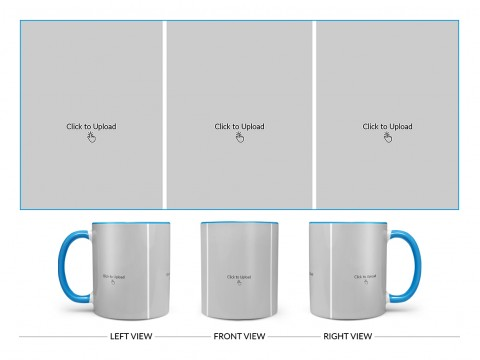 3 Equal Pic Upload Design For Any Occasions & Event Design On Dual Tone Sky Blue Mug