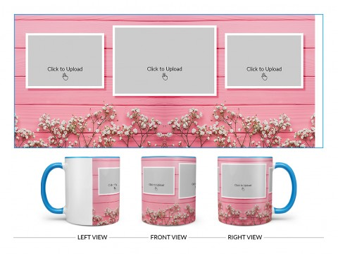 Wooden Wall With Small Flowers 3 Pic Upload Design On Dual Tone Sky Blue Mug