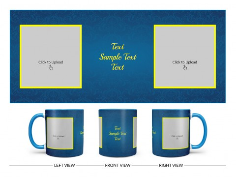 Dark Blue Flower Pattern Background With Yellow border Design On Dual Tone Sky Blue Mug