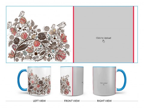 Artisic Design On Dual Tone Sky Blue Mug