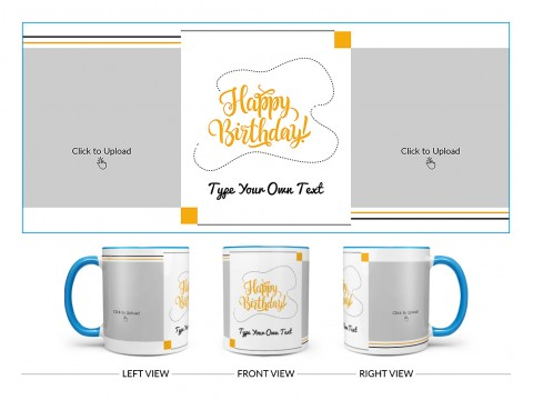 Boy Friend Birthday With 2 Square Pic Upload Design On Dual Tone Sky Blue Mug