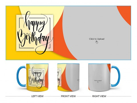 Boy Friend Birthday Orange And Yellow Waves Design On Dual Tone Sky Blue Mug