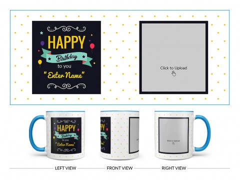 Boy Friend Birthday Yellow Dots Background Design On Dual Tone Sky Blue Mug