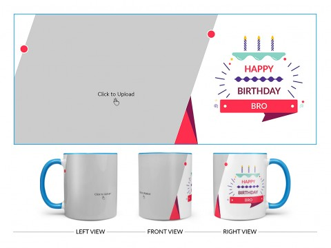 Brother's Birthday With White Background Design On Dual Tone Sky Blue Mug