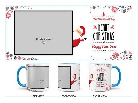 We Wish You A Very Merry Christmas Design On Dual Tone Sky Blue Mug