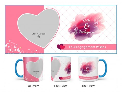 Bride & Bridegroom With Love Shape Pic Upload Design On Dual Tone Sky Blue Mug