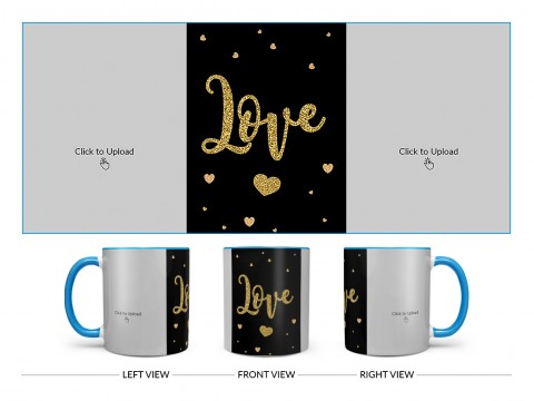 Gold Textured Love Design On Dual Tone Sky Blue Mug