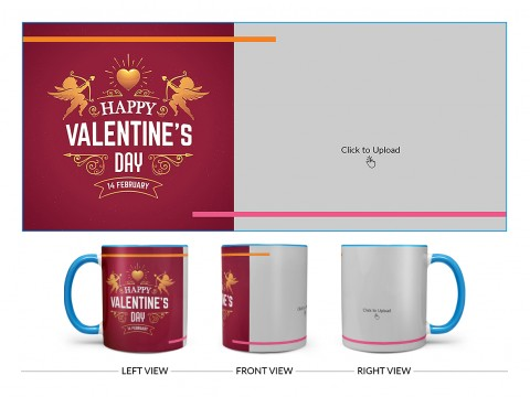 Happy Valentine's Day Design On Dual Tone Sky Blue Mug
