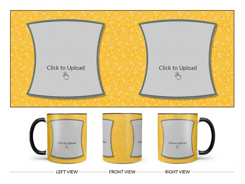 Yellow Colour Background With Flower Pattern Design On Dual Tone Black Mug