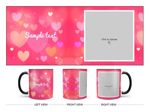 Heart Symbols With Dark Pink Background Design On Dual Tone Black Mug