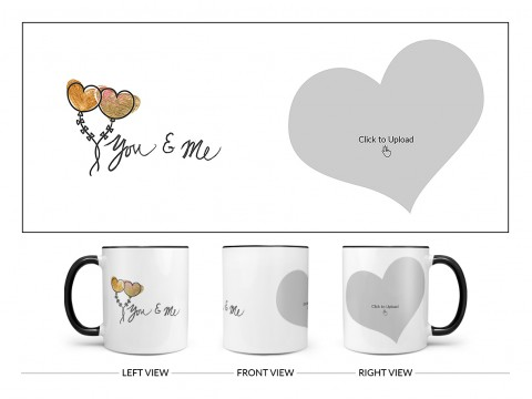 You & Me Design On Dual Tone Black Mug