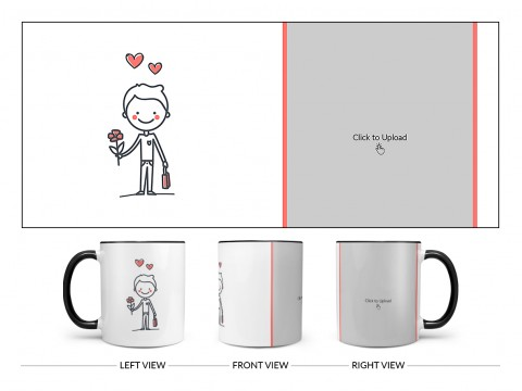 Boy Holding Roses Design On Dual Tone Black Mug