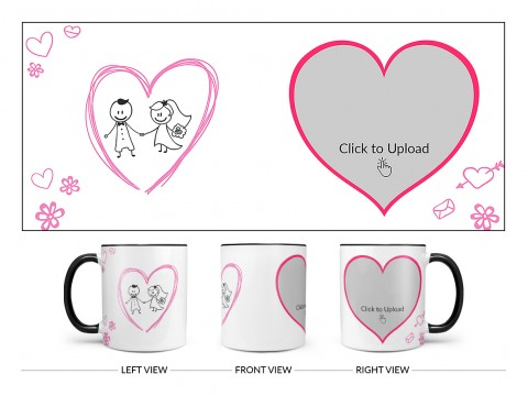 Couple In Wedding Celebrations Design On Dual Tone Black Mug