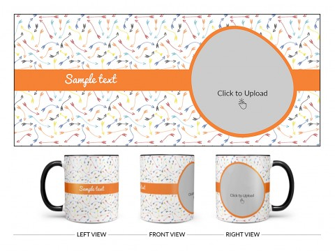 Multiple Arrows Pattern Background With Oval Shape Pic Upload Design On Dual Tone Black Mug