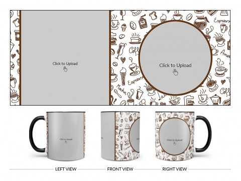 Coffee Mugs, Ice Creams, Coffee Jug & Etc. Pattern Background Design On Dual Tone Black Mug