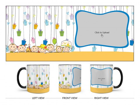 Multiple Kids Behind The Wall And Gifts Pattern Background Design On Dual Tone Black Mug