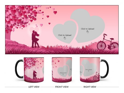 Young Couple In Love World Design On Dual Tone Black Mug