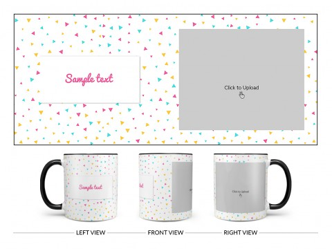 Colourful Triangles Pattern Background Design On Dual Tone Black Mug