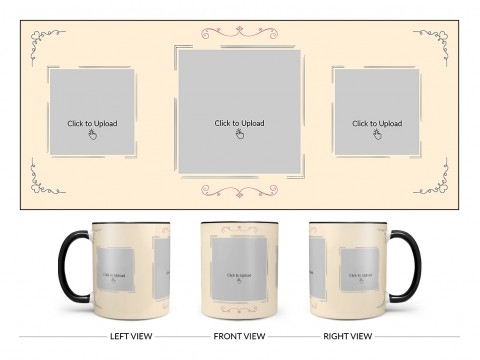 Cream Colour Floral Ornament Border With 3 Pic Upload Upload Design On Dual Tone Black Mug