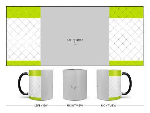 Green borders With Dotted Line Background Design On Dual Tone Black Mug