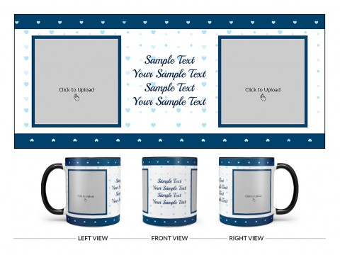 Dark Blue Love Symbols borders With Love Symbol Background Design On Dual Tone Black Mug