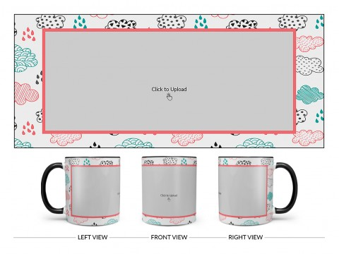 Clouds And Rain Drops Background With Large Single Pic Upload Design On Dual Tone Black Mug