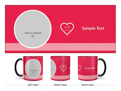 Dark Pink Love Symbols Pattern Background With Oval Shape Pic Upload Design On Dual Tone Black Mug