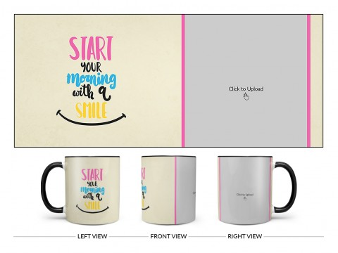 Start Your Morning With A Smile Quote Design On Dual Tone Black Mug