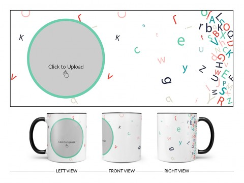 Flying Alphabets With White Background Design On Dual Tone Black Mug