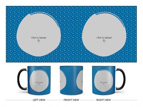Dark Blue Background With Stars Pattern Design On Dual Tone Black Mug