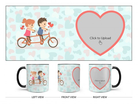 Couple Cycling In Love Symbol Pattern Background Design On Dual Tone Black Mug