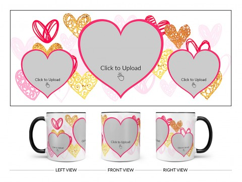 3 Heart Symbols Pic Upload With Golden Love Symbols Background Design On Dual Tone Black Mug