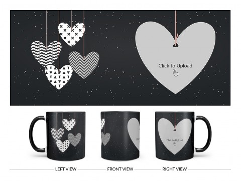 Heart Symbols Hanging In The Sky With Stars Background Design On Dual Tone Black Mug