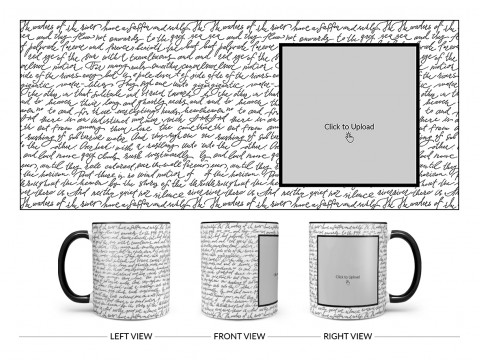 Cursive Writing Background With Square Pic Upload Design On Dual Tone Black Mug