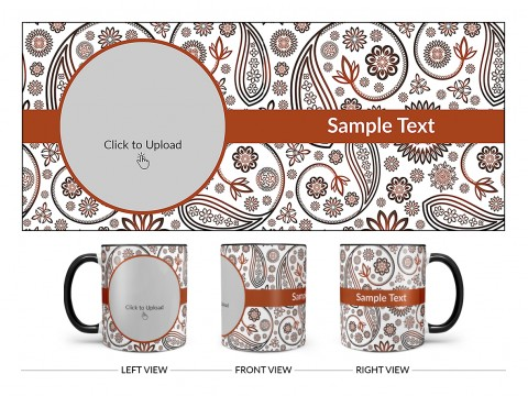 Floral Design Background Design On Dual Tone Black Mug