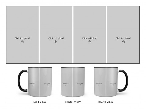 4 Vertical Pic Upload Design For Any Occasions & Event Design On Dual Tone Black Mug