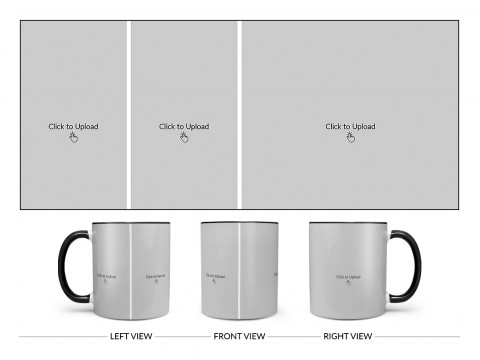 3 Pic Upload Design For Any Occasions & Event Design On Dual Tone Black Mug