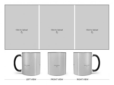 3 Equal Pic Upload Design For Any Occasions & Event Design On Dual Tone Black Mug