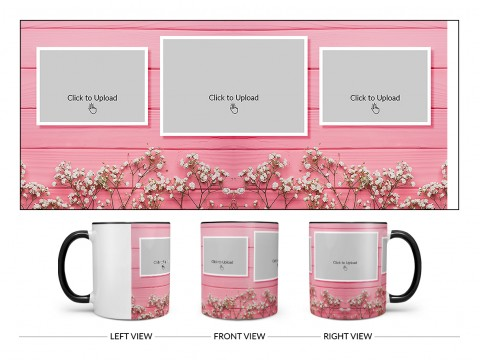 Wooden Wall With Small Flowers 3 Pic Upload Design On Dual Tone Black Mug